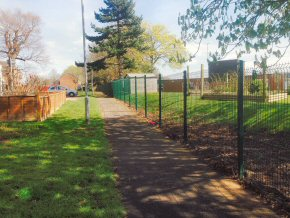 Security fencing at Langford Park School.