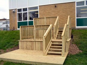 Timber decking that provides a mixture of uses e.g recreational area, observation area, relaxation area