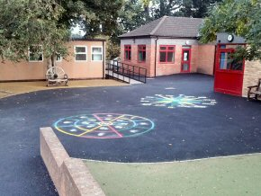 Playground resurfacing, markings and rubber mulch at Wembdon School