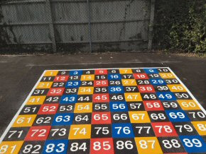 Thermoplastic playground markings at Hatch Beauchamp Primary School - 1 in 100 grid - 3.1m x 3.1m
