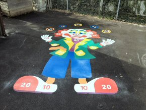 Thermoplastic playground markings at Hatch Beauchamp Primary School - Clown target 3m x 5m