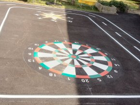 Thermoplastic playground markings at Hatch Beauchamp Primary School - Dartboard target 2m diameter
