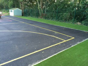 Artificial Grass, new tarmac playground and playground markings at Ruishton school