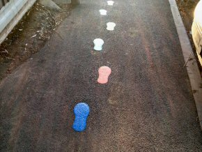 Footsteps showing the safe way to school at a school in Taunton