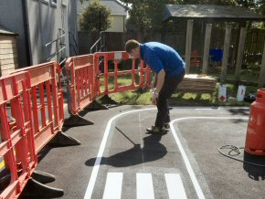 Setting out roadway with zebra crossing at Hatch Beauchamp Primary School