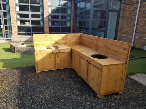 Mud kitchen at Hamp Junior School, Bridgwater