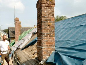 Old chimney waiting to be removed a Payhembury School